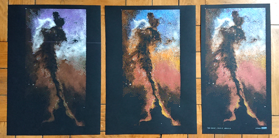 the Fairy in the Eagle Nebula - evolution of a drawing (final piece on the right)
